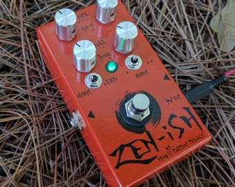 Zen-ish Overdrive Guitar Pedal by Mike's Custom Pedals, Hemi Orange finish, with black or silver knobs