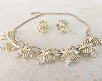 Coro Demi Parure Rhinestone Necklace and Earrings Wheat Starburst