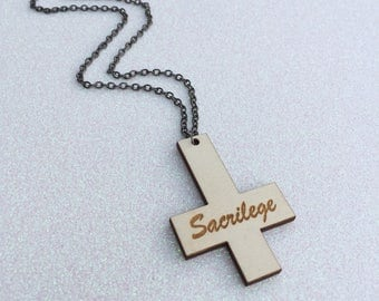 Sacrilege Inverted Cross Necklace