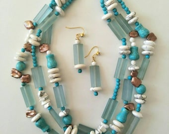 Resin, Howilite, and Keshi Pearl necklace and earring set.
