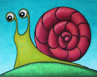 Snail drawing Snail painting on  paper Snail oil pastel Original snail painting Animal painting Children room décor Original drawing Snail