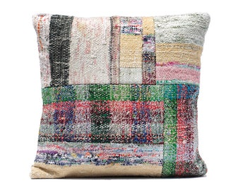 patchwork kilim pillow primitive decor 16x16 RUG PRODUCTS decorative pillow case couch floor pillows for sofa pillow green rag rug cushion