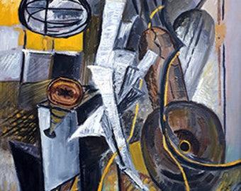 Cubism -  guitar, print from original painting, modern art, modern home decor, fine arts