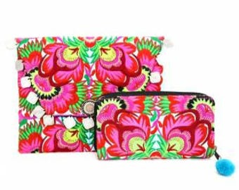 Floral Garden Clutch and Wallet Set