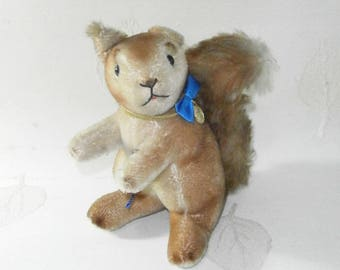 squirrel, collectable soft toy/Clemens with tags/1950/60s/Germany