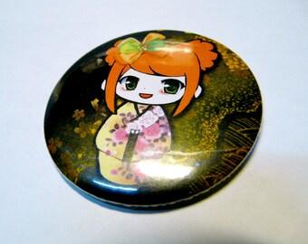 Pocket mirror / purse size 56 mm [Red Kawaii Kokeshi.