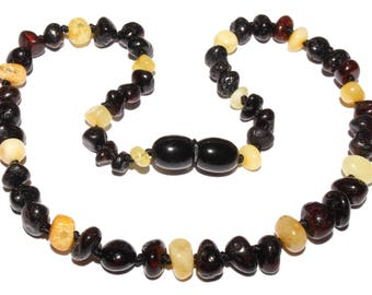 Genuine Baltic Amber Baby Teething Necklace Black / Butter