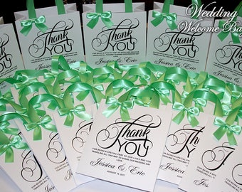 20 Thank You Wedding welcome bags with ribbon, bow and your tag, Elegant wedding bags, wedding favor bags, welcome wedding bags, party bags