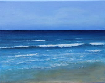 Original seascape oil painting on stretched linen, 11X14 inches