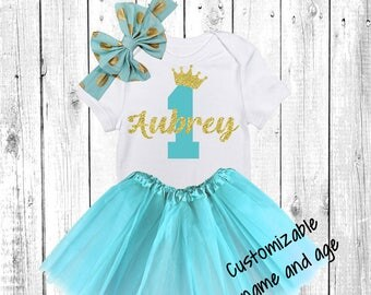 First Birthday Tutu Outfit, Baby Girl Clothes, One, One Year Old Outfit, One Birthday Set, 1st Birthday Princess, Birthday Aqua, Turquoise