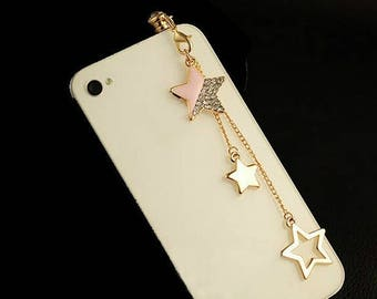 Pink & Gold Chained Start Dust Plug with Rhinestones