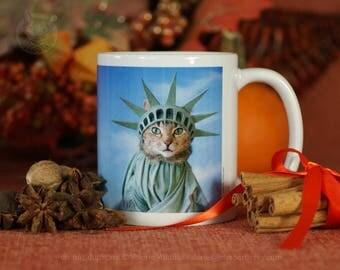 Mrs. Parberry's Statue of Liberty 11-15 oz Mug, Cat Mug, Cute Cat Mug, Gift Mug, Crazy Cat Lady Mug, Cat Coffee Mug, Cat Tea Mug, Patriot