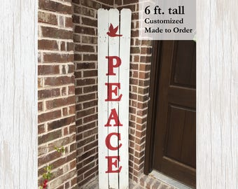 Peace Christmas Porch Sign, Wood Porch Decor, Rustic Outdoor Sign, Christmas Decor, Holiday Wood Sign, Christmas Sign, Holiday Decor