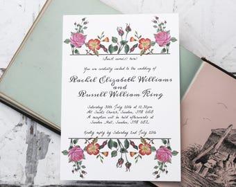 Vintage style wedding invitations, vintage inspired wedding invites, vintage design floral wedding invitations