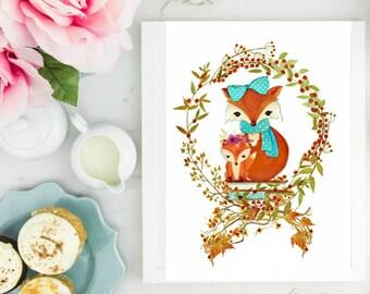 Mama and baby fox.