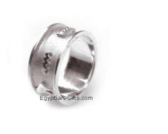 Personalized Cartouche Silver Band - Egyptian Ring