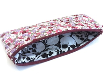 Pencil Case (Floral Print Exterior and Skull Print Interior)  (8 x 20cm)