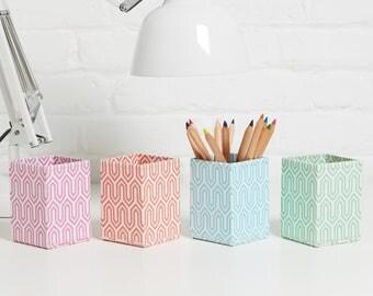 100% recycled pastel graphic geometric print pen pot
