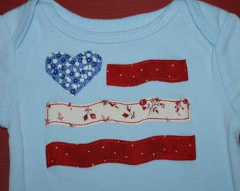 American Flag 4th of July Bodysuit