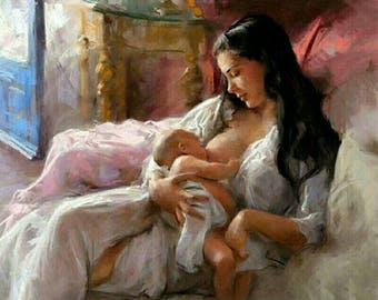 Paint By Number DIY Painting By Numbers Paint On Canvas Kits Acrylic Painting Breastfeeding Motherly Love For Home Wall Art Picture Artwork