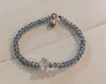 Manifest Pure Light & Advanced Lightwork Herkimer Diamond Sea Goddess bracelet blue/purple
