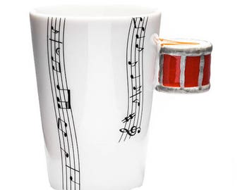 Cup ceramic with handle music mug battery red. 00005