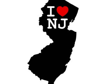 I Heart New Jersey Decal