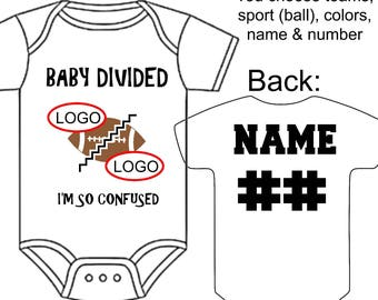 Sports baby gift etsy custom made and personalized baby divided gerber onesie you choose sports teams front negle Image collections