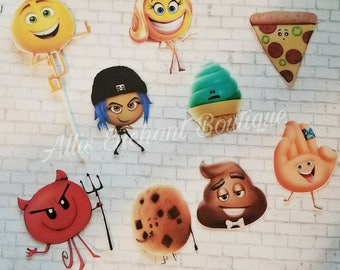 Emoji Cupcake Topper New Emoji Party supplies Movie Characters Party Kids Event Birthday Party Emoji Party Ideas (24 ct)