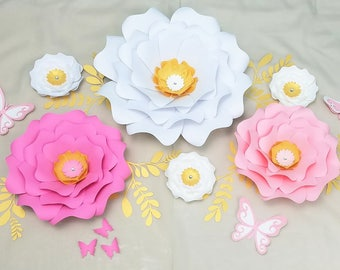 Paper flowers wall decor. Large paper flowers wall decor. Nursery large flowers wall. Baby shower backdrop. White pink gold flowers wall.