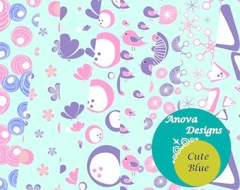 Cute Blue- Blue digital papers/ Kids Favourite  colours