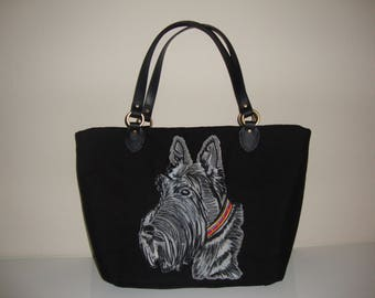 Scottie,Dog, Bag, Handbag, leather handles, canvas weave 100% Polyester.foam interlining , cotton interior lining,  fabric,tote,pets,