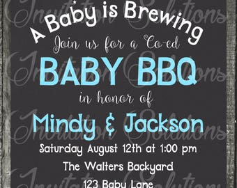 Baby Shower BBQ Themed Party invitation/ Summer Time Cookout Baby Shower Invitations