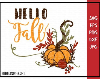 Fall svg, Hello Fall svg, Halloween svg, Pumpkin svg, Fall wreath, Cricut and Silhouette files, Pumpkin Clipart, floral Svg, Dxf, Jpg, Svg