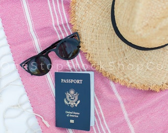 Passport Flat Lay / Instagram Stock Photo / Travel Flat Lay / Stock Photo / OneStopStockShopCo