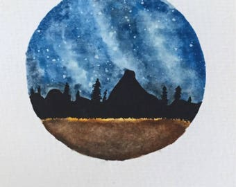 Mountain and Stars Painting