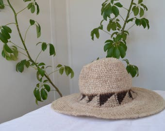 Vintage Beige Wool Hat / Small fit / Bohemian / Festival Hat