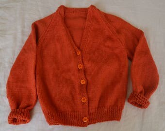 Vintage Handmade Hand Knitted Wool Girl Orange Button Up Cardigan / Size 7