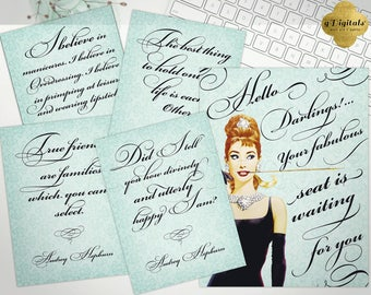 Bridal Breakfast at Tiffanys party signs, welcome darling, Audrey Hepburn quote, signage, wall art, decorations, shower, Set of 5