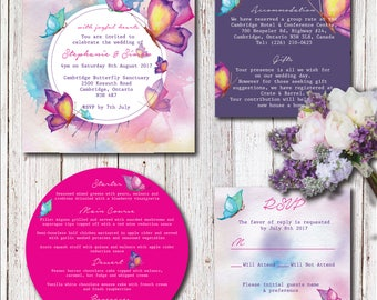 Watercolour Butterfly Wedding Invitation Set