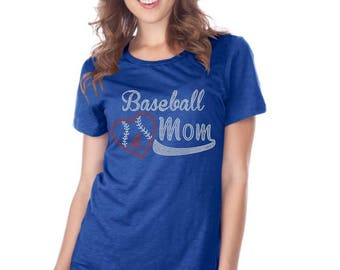 Baseball mom w/ # Rhinestone Iron on Transfer