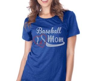 Baseball mom w/ # Rhinestone Iron on Transfer