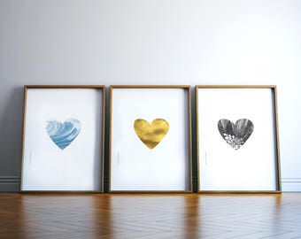 Prints Set Heart Print Living Room Wall Art Love Romantic