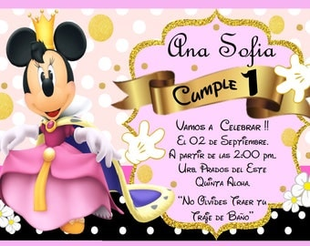 Minnie Golden KIT - Personalized Rose - SOCIAL NETWORKS Party Invitation and Candy Bar