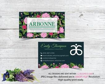 Arbonne Business Cards, Custom Arbonne Business Card, Green Floral Arbonne Business Card, Custom Business Card, Printable Business Card AB89