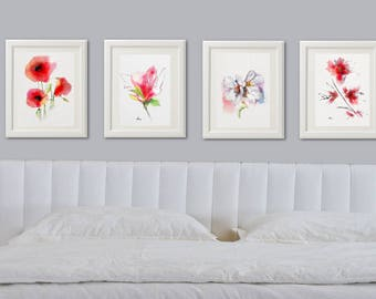 Flower Wall Art Decor Bedroom Flower Wall Art Print, Set 4 Bedroom Wall Art Print Flower Pink Bedroom Decor Wall Art Print Gift Idea (Q3267)