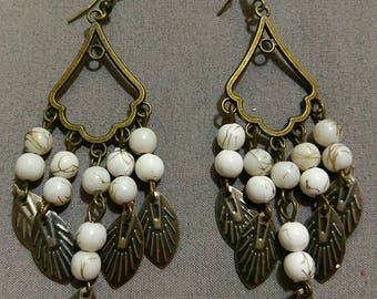 Antique Brass White Earrings
