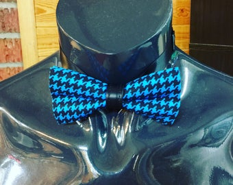 Navy Blue & Black Houndstooth Bow Tie