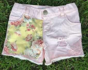 Pink Distressed Denim Shorts with Yellow Floral Fabric 4t