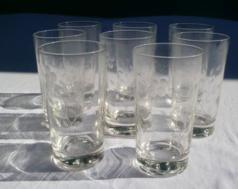 vintage set of 8 retro drinking glasses with etched modern floral design